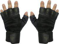 JMO27Deals Wight Lifting Palm and Wrist Support Gym & Fitness Gloves (Black)