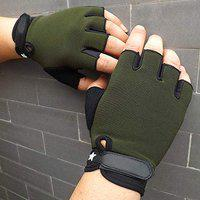 DreamPalace India Gym Weight Lifting Hand Grips Gloves with Anti Slip Design for Workout Crossfit Fitness Training (Green, Free Size)