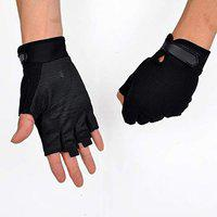 DreamPalace India Polyester and Cotton Anti-Skid Warm Knitted Half Finger Gloves (Free Size; Black)
