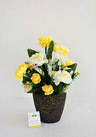 Ashiyanadecors Natural Looking Yellow & White Peony Arrangement in Black Pot for Home & Office Dcor