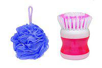 Iyaan Bathing Loofah And Feet Brush Bathing Accessories For Men And Women (Multicolor)