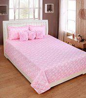 HomeStore-YEP 6 Pc Pure Cotton Luxury Designer Bedsheet Set Laced with Frills,1 Double Bedsheet:: 2 Frilled Pillow Cover:: 3 Frilled Filled Cushions
