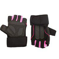 IRIS Half Finger Weightlifting Gloves for Gym, Power Lifting, Workout, Weightlifting, Cross fit, Climbing and Tracking, Sports for Men and Women(Pink)