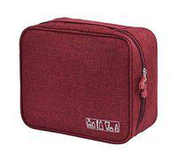 FORKLS Travel Multi-Functional Portable Travel Toiletry Makeup Cosmetic Accessories Organizer Pouch (Wine Red)