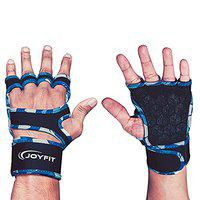 Joyfit - Weightlifting Gym Gloves- with Thick Wrist Wrap Support and Cotton Padding, Y-Back Design Glove for Integral Wrist Support, Anti-Slip Silicone Lining (Small)