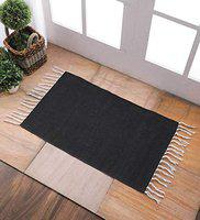 SWHF Cotton Printed Area Rug Dhurrie for Living Room and Bed Room, 45X75 cm, Black