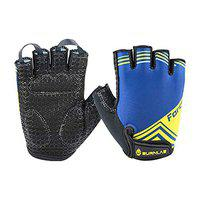 Burnlab Flex Gym Gloves for Men and Women - Ideal for Weightlifting, Cycling, Crossfit, Offers Good Grip and Soft Padding (Force Blue, Small)