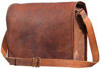 TUZECH Pure Leather Vintage Cross-Body Messenger Satchel Bag (13.3 Inches, Brown)