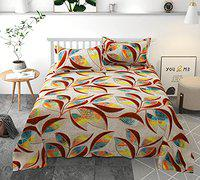 HFI Homefab India Polycotton Double Bedsheet with 2 Pillow Covers - Multicolor