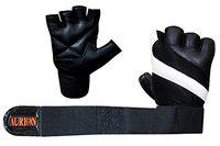 Aurion Padded Weight Lifting Gloves, Gym Gloves, Workout Gloves, Rowing Gloves, Exercise Gloves for Powerlifting, Fitness, Cross Training for Men & Women (White/Black, Large)