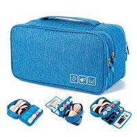 FORKLS Travel Portable Double Layer Bra Underwear Lingerie Cosmetic Organizer Case Travel Toiletry Bag. (Sky Blue Color) (Sky Blue)