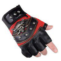 AlexVyan 1 Pair Black Pirates Gloves Outdoor Gloves Protective Half Finger Hand Riding, Cycling, Bike Motorcycle Gym Gloves for Men Boy-1