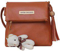ASTIR COLLEEN Sling bag/Cross body bag for women/girls with teddy (Light Tan)