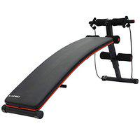 Kobo EB-1009 Steel Abdominal Exercise Sit Up Bench Heavy Duty with Resistance Band for Home Gym (Imported) (Black/Red)