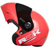 Steelbird R2K OSKA Reflective Flip-up Helmet, ISI Certified Helmet (X-Large 620 MM, Dashing Red Helmet Fitted with Clear Visor and Extra Smoke Visor)