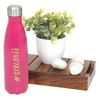 Elan Girl-Boss Stainless Steel Vacuum Flask, Water Bottle for Birthday Gifting/Cold Water Bottle (Pink, 500 ML)