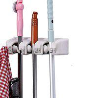 DeoDap Cleaning Supplies - 3 Layer Mop and Broom Holder, Garden Tool Organizer, Multipurpose Wall Mounted