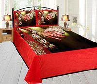 Home Solution's New Heavy Digital Velvet bedcover,1 bedsheets with 2 Pillow Covers,Panel Print in Zipper Bag,King Size(100100)