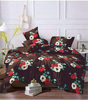 Snyter King Size Bedsheet with 2 Pillow Covers - Soft Cotton 500 Thread Count - Size 228 X 254 Cms Approx (Multi)