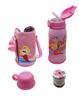 SYGA Cartoon Animal Pattern Stainless Steel School Drink Water Bottle for Kids with Straw_Fish