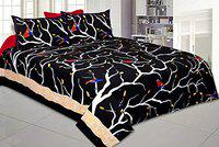 JaipurFabric 100% Pure Cotton Jaipuri King Size Double Bedsheet with 2 Pillow Cover Set (Black, 90 x 108 inch)