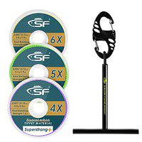 SF Clear Fluorocarbon Fly Fishing Tippet Line with Holder Leaders and Tippets-3 Pack 0,1,2X