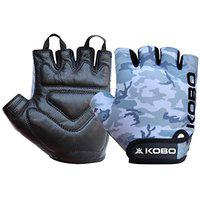Kobo WTG-51 Weight Lifting Gym Gloves Leather Camouflage Leather Hand Protector for Fitness Training (Multi Colour)