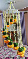 dannyboyzs Reusable Artificial Marigold Flower Garlands for Diwali/Home and Party Decorations