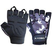 Kobo WTG-42-SMALL Weight Lifting Gym Gloves Camouflage Hand Protector for Fitness Trainingsmall (Multi Colour)