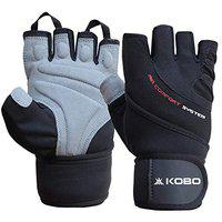Kobo WTG-44-SMALL Weight Lifting Gym Gloves Hand Protector for Fitness Trainingsmall (Multi Colour) with Wrist Support