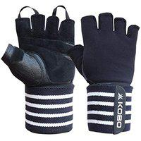 Kobo WTG-49 Weight Lifting Gym Gloves Leather Hand Protector for Fitness Training (Multi Colour) with Wrist Support
