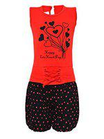 Aarika Girls Red & Black Embellished Top with Shorts