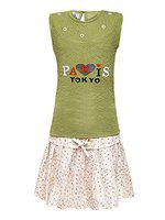 Aarika Girls Green & White Printed Top with Skirt