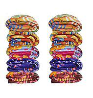MUKHAKSH Single Bed Soft Touch Polar Fleece Light Weight Blanket (Multicolour, Print May Vary) - Pack of 10