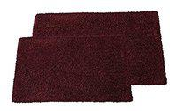 The Home Talk Set of 2 Pieces Solid Bathmat Set, Soft and Cushioned to feet, Anti-Skid, no Dullness, Size: 40x60 cm (1pc), 50x80 cm (1pc)- Maroon