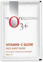 O3+ Vitamin C Glow Face Sheet Mask for Brightening & Even Facial Skin Tone Infused with Orange & Papaya Extracts (30g)