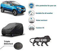 Amikan CAR Cover for Tata Nexon || Export Quality Fabric || Water Resistant and UV Protection || Triple Stitched || Front and Back Elastic || Dark Grey Color || with Carry Bag || Model V7