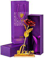 INTERNATIONAL GIFT Artificial Rose Flower And Love Stand And Luxury Gift Box And Beautiful Carry Bag Stand
