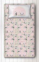 Silverlinen Panda Village 100% Cotton 250 TC Single Bedsheet for Kids Room for Girls with One Pillow Cover - Pink