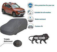 Amikan CAR Cover for Renault Duster   Export Quality Fabric    Water Resistant and UV Protection    Triple Stitched    Front and Back Elastic    Dark Grey Color    with Carry Bag    Model V7