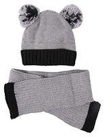 Yellow Bee Navy Hat and Scarf Set with Pom Pom for Boys, Grey, 6 Months to 4 Years