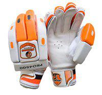 Plumcot Leather Batting Gloves with Inner Gloves (Orange, Right Handed)
