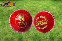 PSE T20 Leather 4Pc Construction Vegetarian Leather Cricket Ball (Red)