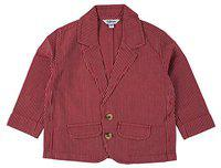 TOFFYHOUSE Full Sleeve Linen Blazer for Boys, Maroon, 6-9 Months