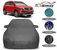 DRIZE MG Hector Car Cover with Triple Stitched Fully Elastic Ultra Surface Body Protection (Grey Look)