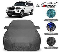 DRIZE Mahindra Scorpio Car Cover with Triple Stitched Fully Elastic Ultra Surface Body Protection (Grey Look)