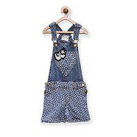 Eimoie Dungaree For Girls Casual Printed Denim(Light Blue, Pack of 1)