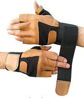 DreamPalace India Gym Gloves/Cycling Gloves/Riding Gloves/Stretchable Size for Both Men and Women, Black Brown