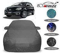 DRIZE Etios Liva Car Cover Waterproof with Triple Stitched Fully Elastic Ultra Surface Body Protection (Grey Look)
