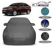 DRIZE Honda Amaze Car Cover Waterproof with Triple Stitched Fully Elastic Ultra Surface Body Protection (Grey Look)